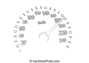 speedometer sketch isolated on white background