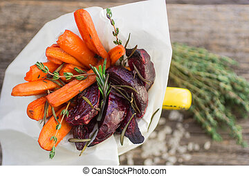 roasted carrots and beets with thyme and rosemary