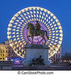 Place Bellecour statue of King Louis XIV, Lyon France