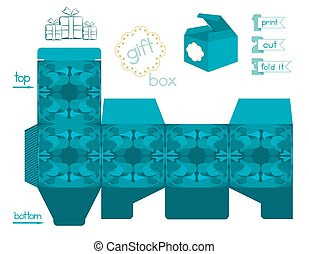 Printable Gift Box Abstract Pattern - Template for square...