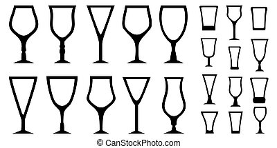 set isolated alcohol glass icons