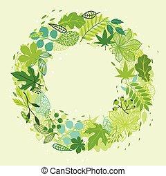 estilizado, verde, hojas, Plano de fondo