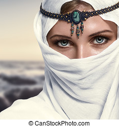 Fashion woman - Portrait of young beautiful woman arabic...