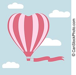 Flat hot air balloon in the shape of a heart with flag isolated on sky