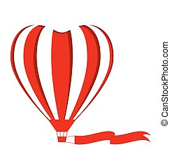 Red hot air balloon in the shape of a heart cutout with blank flag on white
