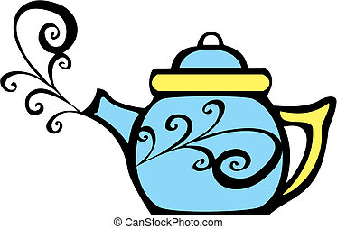 Swirl Teapot - retro 70s image of a psychedelic teapot with...
