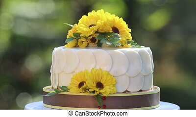 white creamy delicious cake zoom out - white creamy cake...