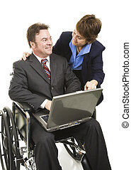 Disabled Businessman and Associate - Disabled businessman...