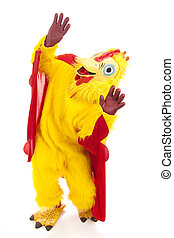 Chicken Man - Sky is Falling - Man in a chicken suit afraid...