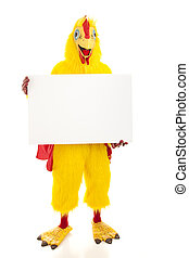 Chicken Man Holds Blank Sign - Man in a chicken suit holding...