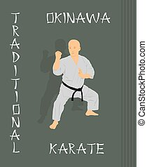 The man is engaged in karate on a g