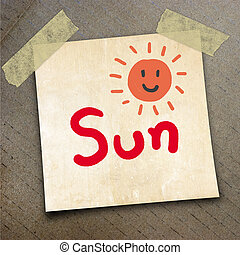 packing paper - Text Sun on the shotnote paper on the...