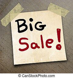 packing paper - Text big sale on the shotnote paper on the...