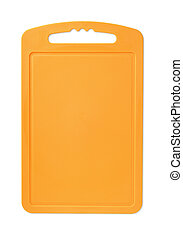 Cutting board - Orange plastic cutting board isolated on...