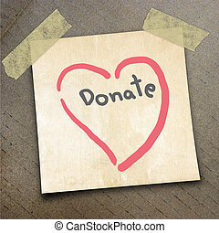 packing paper - Text donate on the shotnote paper on the...