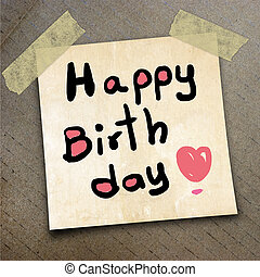 packing paper - Text happy birthday on the shotnote paper on...