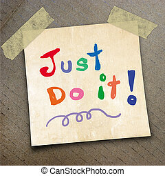packing paper - Text just do it on the shotnote paper on the...