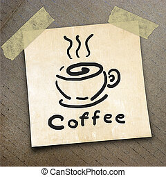packing paper - Text coffee on the shotnote paper on the...