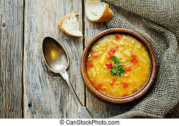 sopa, com, salmão, batatas, e, millet,