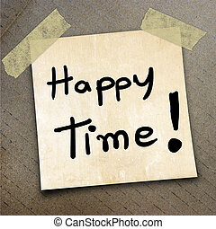 packing paper - Text happy time on the shotnote paper on the...