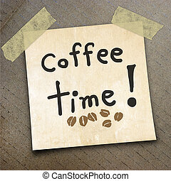 packing paper - Text coffee time on the shotnote paper on...