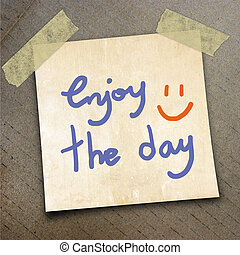 packing paper - Text enjoy the day on the shotnote paper on...
