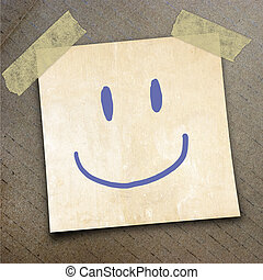 packing paper - Text face smile on the shotnote paper on the...
