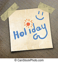 packing paper - Text holiday on the shotnote paper on the...