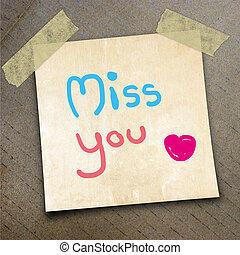 packing paper - Text miss you on the shotnote paper on the...