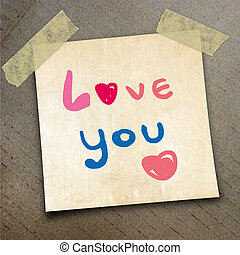 packing paper - Text love you on the shotnote paper on the...