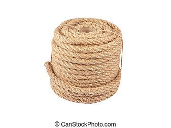 Manila rope - Natural fiber manila rope, isolated on white...