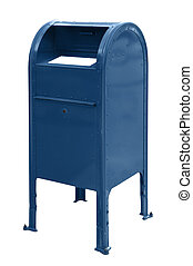Mailbox - A standard blue US mailbox isolated over a white...