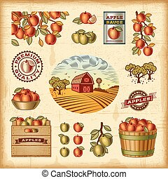 Vintage colorful apple harvest set - A set of fully editable...