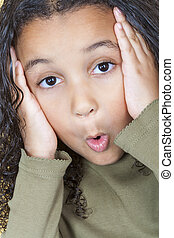 Surprised African American Girl Child - A beautiful mixed...