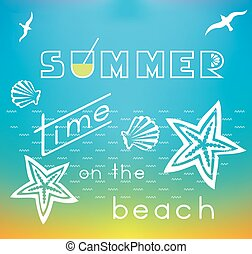 Summer Time On The Beach - Summer theme illustration with...