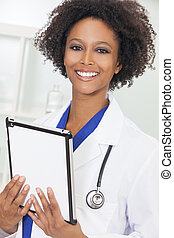 African American Female Woman Doctor Tablet Computer