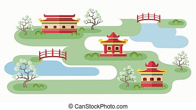 Somewhere In Japan - Cartoon illustration with tranquil...