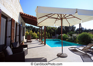 Greel Villa patio and pool - Patio and pool of a Greek...