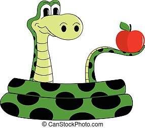 Snake - Sly snake with an apple