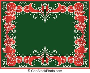 Christmas Border - Vintage holiday frame in traditional...