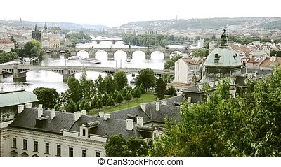 prague cityscape - prague, vitava river and bridges