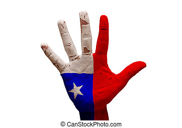 palm flag chile - man hand palm painted country flag of...
