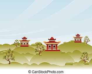 View With Pagodas - Cartoon illustration with tranquil...