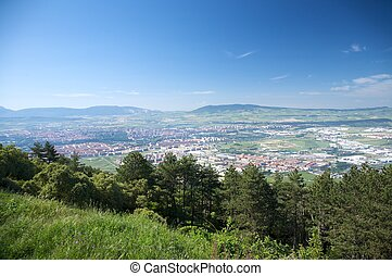 pamplona city from the mountain - aerial view of pamplona...