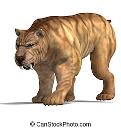 Dinosaur Smilodon - saber-toothed tiger 3D render with...