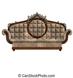 cushy sofa of louis XV - 3D rendering of a cushy sofa of...