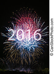 Happy New Year 2016 with colorful sparklers The word 2016 is...