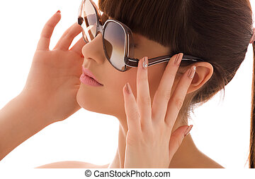 shades - closeup portrait of lovely woman in shades