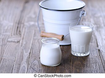 Homemade yogurt - Homemade yogurt on wooden table in the...