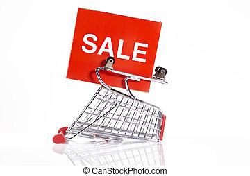 sale - shopping trolley,sale concept
